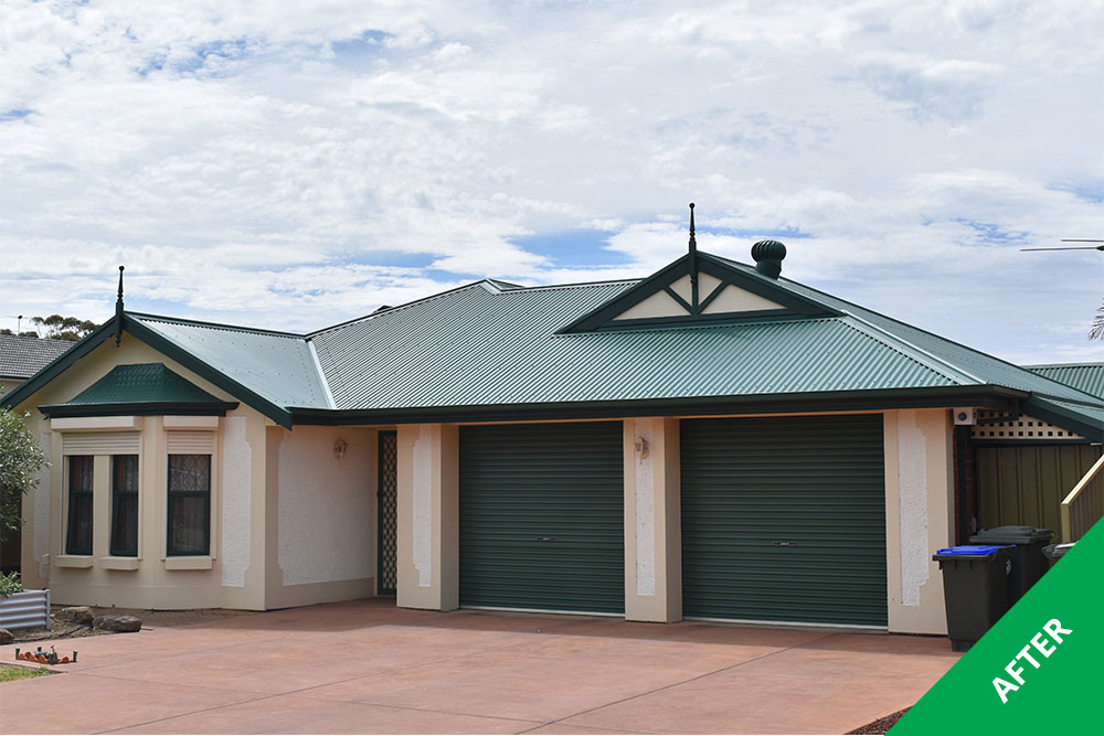 Grange- Colorbond roof repaint - Cottage Green Dulux Acratex -painted 1