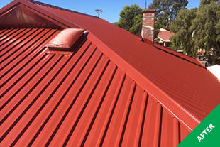 Myrtle Bank - Iron roof restoration - Heritage Red Dulux Acratex -painted 3